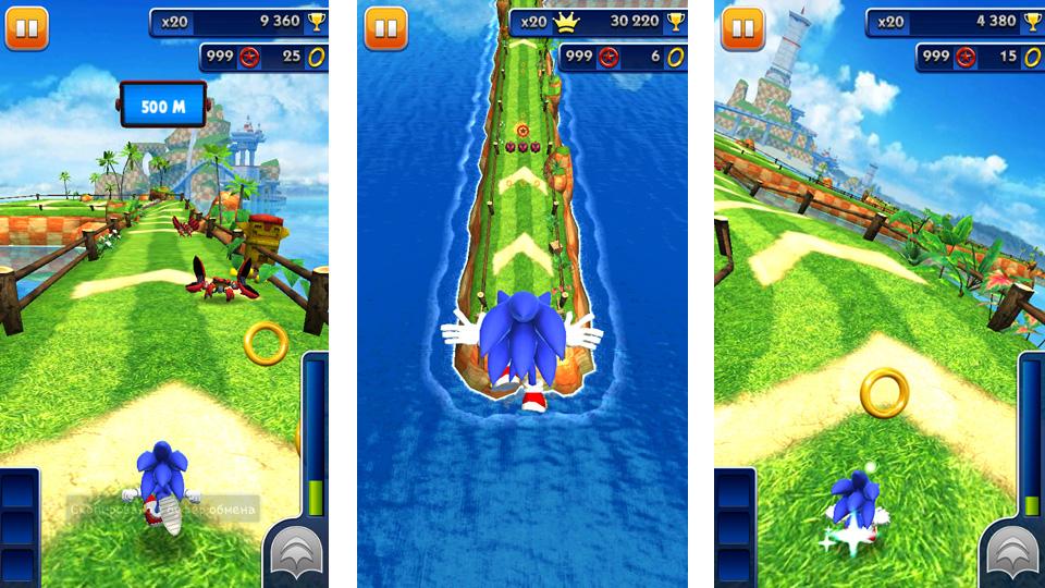 Sonic Dash на телефон