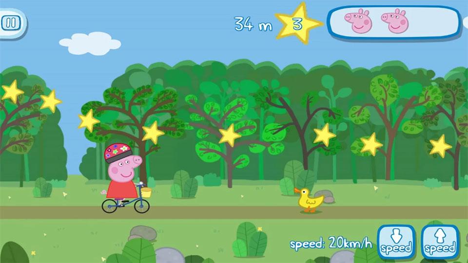 Свинка Пеппа на велосипеде на телефон